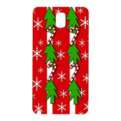Christmas Tree Pattern   Red Samsung Galaxy Note 3 N9005 Hardshell Back Case by Valentinaart
