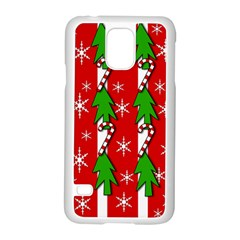 Christmas Tree Pattern   Red Samsung Galaxy S5 Case (white) by Valentinaart