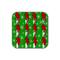 Christmas Pattern   Green Rubber Square Coaster (4 Pack)  by Valentinaart