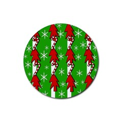 Christmas Pattern   Green Rubber Coaster (round)  by Valentinaart
