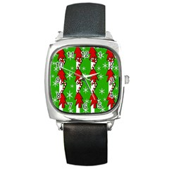 Christmas Pattern   Green Square Metal Watch by Valentinaart