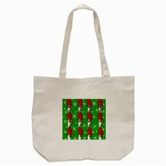 Christmas Pattern   Green Tote Bag (cream) by Valentinaart