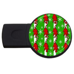 Christmas Pattern   Green Usb Flash Drive Round (4 Gb)  by Valentinaart