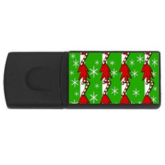 Christmas Pattern   Green Usb Flash Drive Rectangular (4 Gb)  by Valentinaart