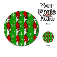 Christmas Pattern   Green Multi Purpose Cards (round)  by Valentinaart