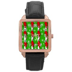 Christmas Pattern   Green Rose Gold Leather Watch  by Valentinaart