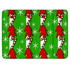 Christmas Pattern   Green Samsung Galaxy Tab 7  P1000 Flip Case by Valentinaart