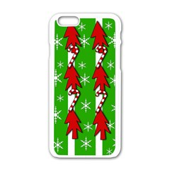 Christmas Pattern   Green Apple Iphone 6/6s White Enamel Case by Valentinaart