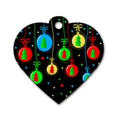 Christmas Balls Dog Tag Heart (one Side) by Valentinaart
