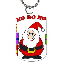 Santa Claus Pattern   Transparent Dog Tag (one Side) by Valentinaart