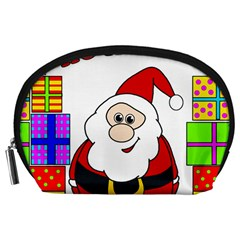 Santa Claus Pattern   Transparent Accessory Pouches (large)  by Valentinaart