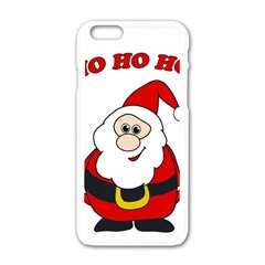 Santa Claus Pattern   Transparent Apple Iphone 6/6s White Enamel Case by Valentinaart