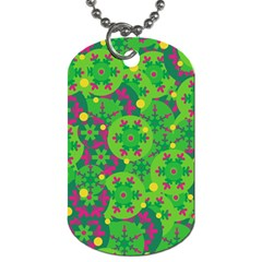 Christmas Decor   Green Dog Tag (one Side) by Valentinaart