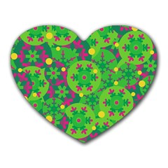 Christmas Decor   Green Heart Mousepads by Valentinaart