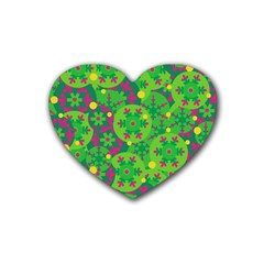 Christmas Decor   Green Heart Coaster (4 Pack)  by Valentinaart