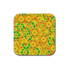Christmas Decor   Yellow Rubber Square Coaster (4 Pack)  by Valentinaart