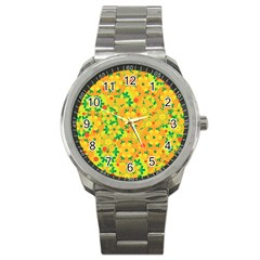 Christmas Decor   Yellow Sport Metal Watch by Valentinaart