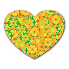 Christmas Decor   Yellow Heart Mousepads by Valentinaart