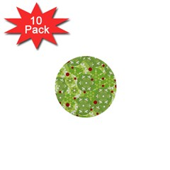 Green Christmas Decor 1  Mini Buttons (10 Pack)  by Valentinaart