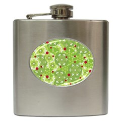 Green Christmas Decor Hip Flask (6 Oz) by Valentinaart