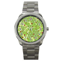 Green Christmas Decor Sport Metal Watch by Valentinaart