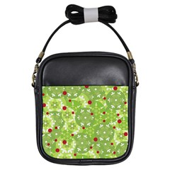Green Christmas Decor Girls Sling Bags by Valentinaart