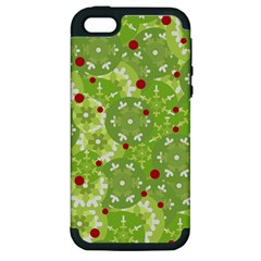 Green Christmas Decor Apple Iphone 5 Hardshell Case (pc+silicone) by Valentinaart