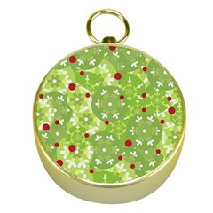 Green Christmas Decor Gold Compasses