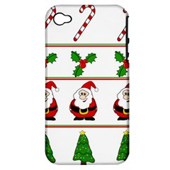 Christmas Pattern Apple Iphone 4/4s Hardshell Case (pc+silicone) by Valentinaart