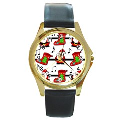 Christmas Song Round Gold Metal Watch by Valentinaart