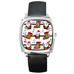 Christmas Song Square Metal Watch by Valentinaart