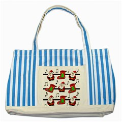 Christmas Song Striped Blue Tote Bag by Valentinaart