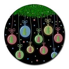 Christmas Balls   Pastel Round Mousepads by Valentinaart