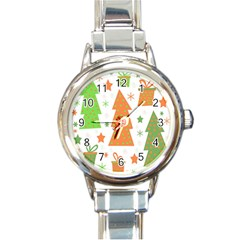 Christmas Design   Green And Orange Round Italian Charm Watch by Valentinaart