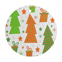 Christmas Design   Green And Orange Ornament (round)  by Valentinaart