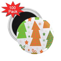 Christmas Design   Green And Orange 2 25  Magnets (100 Pack)  by Valentinaart
