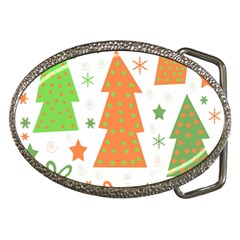 Christmas Design   Green And Orange Belt Buckles by Valentinaart