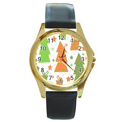 Christmas Design   Green And Orange Round Gold Metal Watch by Valentinaart
