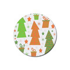 Christmas Design - Green And Orange Rubber Round Coaster (4 Pack)  by Valentinaart