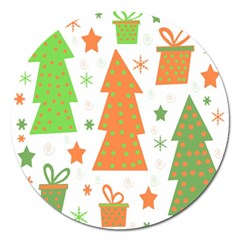 Christmas Design   Green And Orange Magnet 5  (round) by Valentinaart