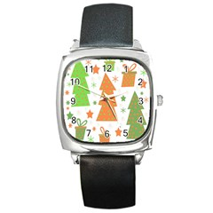 Christmas Design   Green And Orange Square Metal Watch by Valentinaart