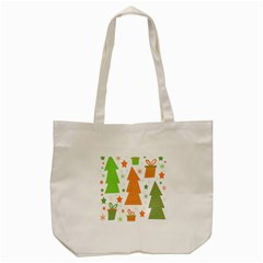 Christmas Design   Green And Orange Tote Bag (cream) by Valentinaart