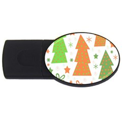Christmas Design   Green And Orange Usb Flash Drive Oval (4 Gb)  by Valentinaart