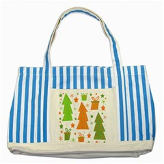 Christmas Design   Green And Orange Striped Blue Tote Bag by Valentinaart