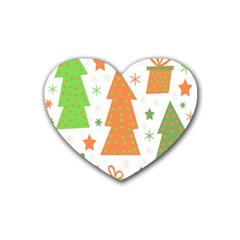 Christmas Design   Green And Orange Heart Coaster (4 Pack)  by Valentinaart