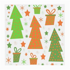 Christmas Design   Green And Orange Medium Glasses Cloth (2 Side) by Valentinaart