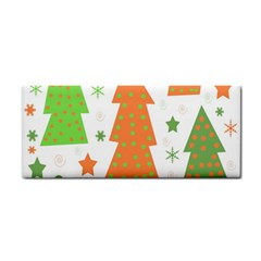 Christmas Design   Green And Orange Hand Towel by Valentinaart