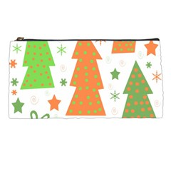 Christmas Design   Green And Orange Pencil Cases by Valentinaart