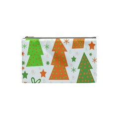 Christmas Design   Green And Orange Cosmetic Bag (small)  by Valentinaart