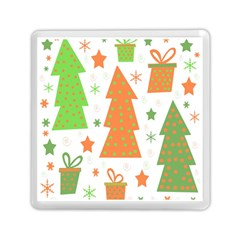 Christmas Design   Green And Orange Memory Card Reader (square)  by Valentinaart